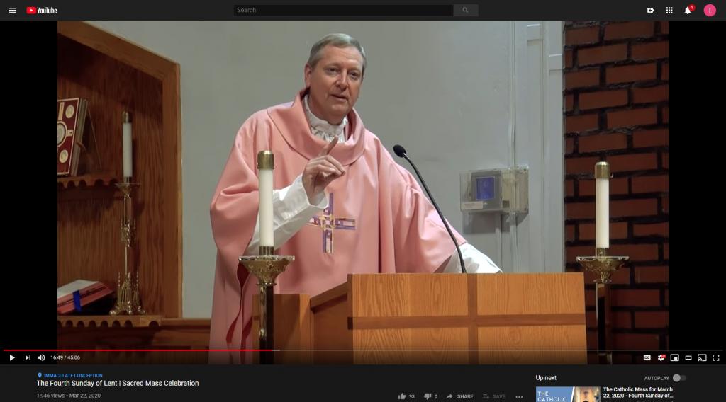 Screengrab of Fr. John's Mass on YouTube.