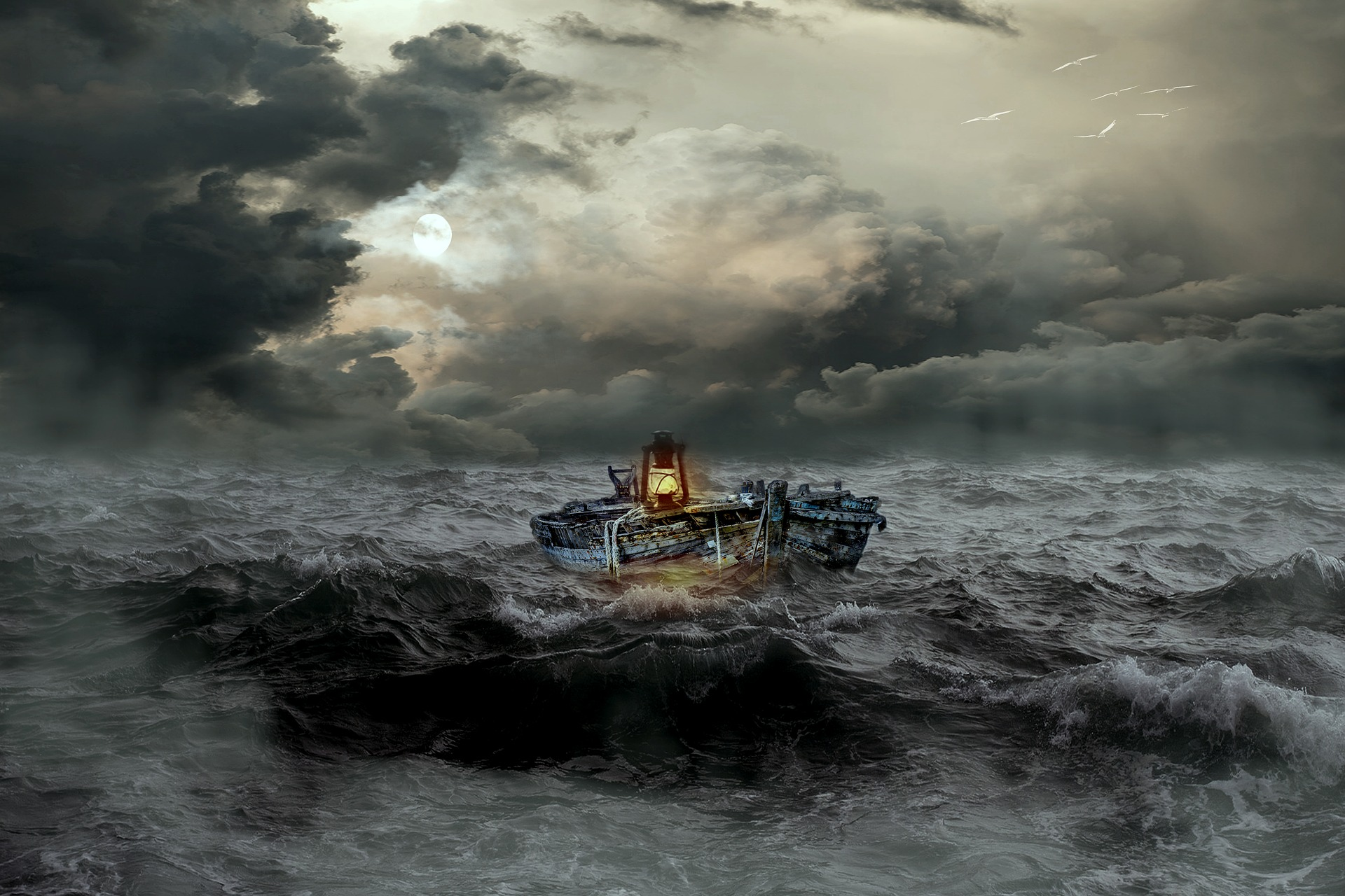 An old boat on the sea at night during a storm.