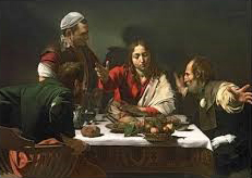 Painting of Jesus sharing a meal with the disciples.