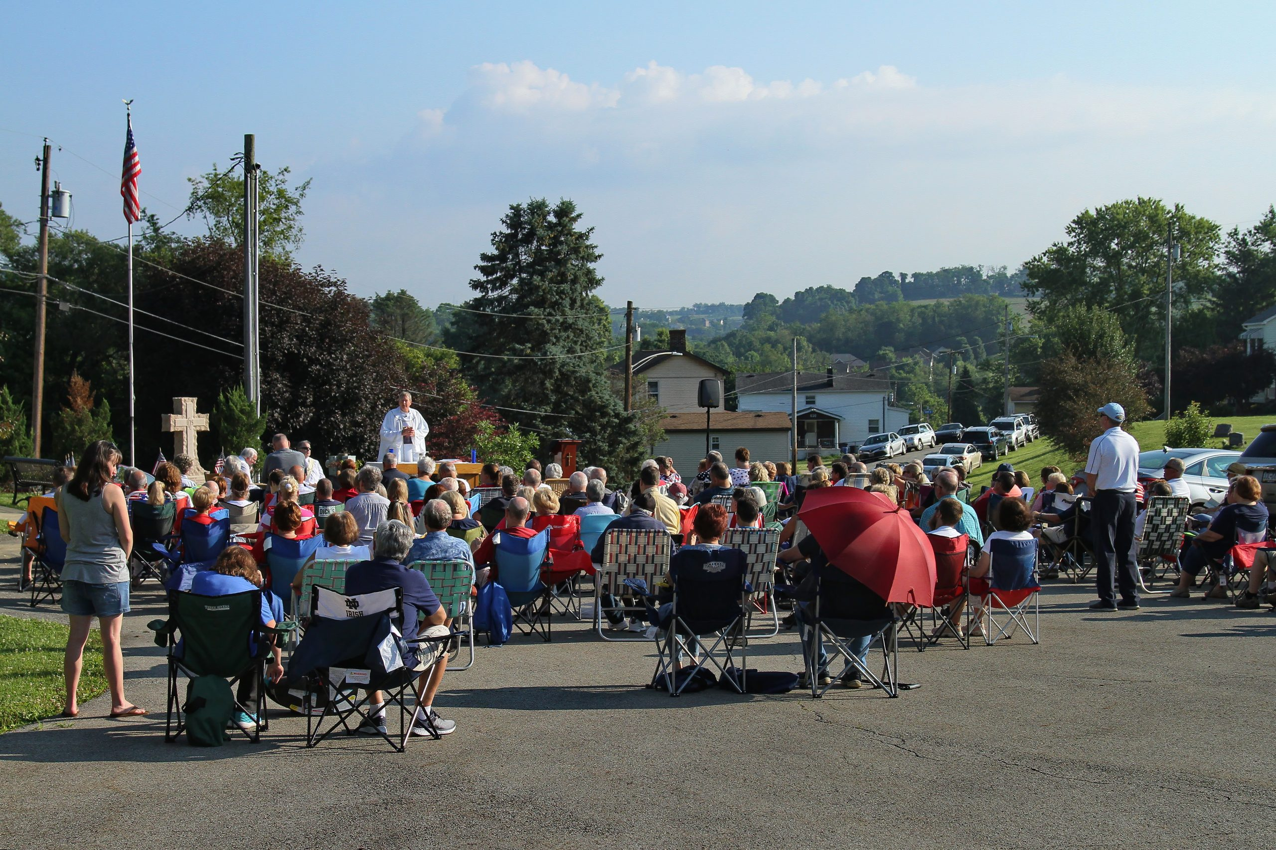 Morning mass celebrated at the cemetery.
